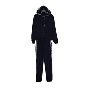 Школьная форма Костюм (134-164)- спортивный с серебристыми лампасами, кофта с капюшоном, брюки на манжете, синий 62227
