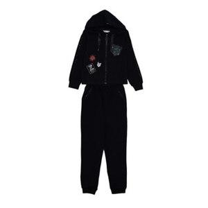 Школьная форма Костюм (122-152))- спортивный с лампасами и карманом из паеток, кофта с капюшоном -завязки атласная лента, брюки на манжете, чёрный 62226