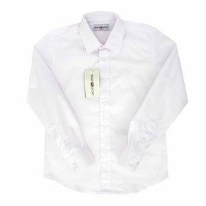 Школьная форма Рубашка (6-15)-д/р, гладкая , с эмблемой белый хлопок 2020
