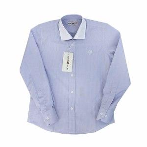 Школьная форма Рубашка (7-15) -д/р,голубая полоска, белый воротник голубой хлопок 6072