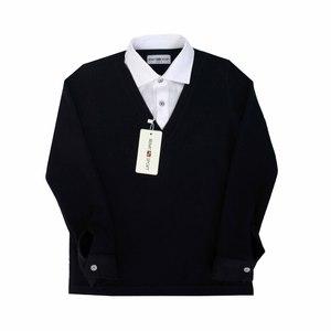 Школьная форма Обманка (7-15) -д/р,кофта воротник мысиком, белый воротник,утеплённая синий хлопок 2511