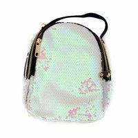 Сумка -рюкзак, вышитый паетками, с золотыми замками серебро хлопок 2059