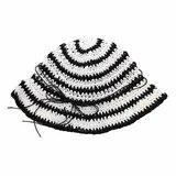 Шляпа - вязанная из соломенных  нитей, полосатая белый с чёрным хлопок 034