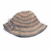 Шляпа - вязанная из соломенных  нитей, полосатая серый с розовым хлопок 034