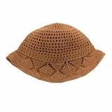 Шляпа - вязанная крючком,с бантом бежевый хлопок 032
