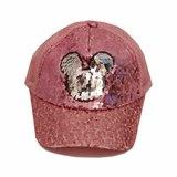 Кепка Мини в паетках, сетка розовый хлопок 019