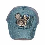 Кепка Мини в паетках, сетка голубой хлопок 019