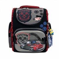 Рюкзак (ортопедический)-Пикап на жёстком  кармане,  с брелком -Минион серый 3-118
