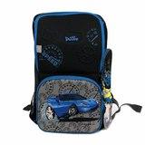 Рюкзак (ортопедический)-Синяя Ферарри на кармане спидометр,часики,и  брелком -Минион чёрный 6-103