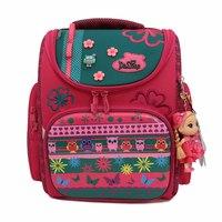 Рюкзак (ортопедический)-Совы, жёсткий карман, с цветочками ,и  брелком -куколка малиновый 3-124