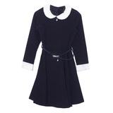 Школьная форма Платье (11-21) - д/р с отстегивающими кружевами с сеткой на рукавах и воротнике, с поясм синий габардин 182141