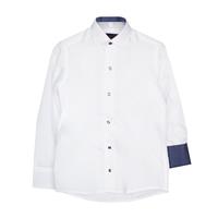 Рубашка (6-14)-д/р,синяя в крапинку отделка внутри воротника и манжета,  на кнопках белый 97-1
