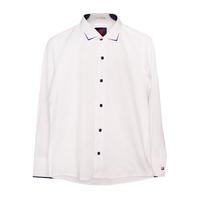 Рубашка (6-14)-д/р,ромбик, с синей стрелкой на воротнике, и синим кантом на манжете, на синих  кнопках белый 1 1207-1