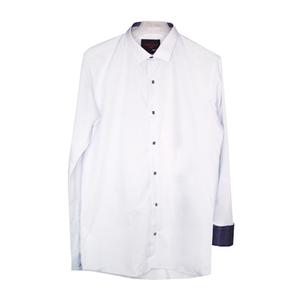 Рубашка (15-18)-д/р,синяя в крапинку отделка внутри воротника и манжета,  на кнопках голубой 97-2