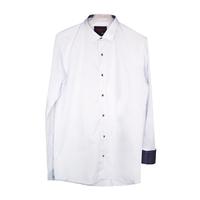 Рубашка (2-5)-д/р, синяя в крапинку отделка внутри воротника и манжета, на кнопках голубой хлопок 97-2