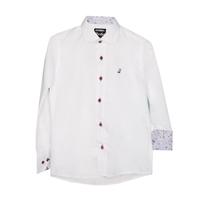 Рубашка (6-14)-отделка на воротнике и манжете в синей клеточке-цветочек, на синих  пуговицах с красной окантовкой белый 1233-1