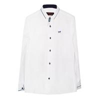 Рубашка (6-14)-д/р, крапинка,Лошадка,синий кант на  воротнике и манжете,  на синих пуговицах белый 1 1158-1