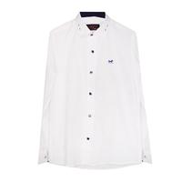 Рубашка (6-14)-д/р,крапинка,Лошадка,синяя отделка внутри воротника и манжета,  на синих кнопках белый 1 1157-1