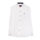 Рубашка (15-18)-д/р,крапинка,Лошадка,синяя отделка внутри воротника и манжета,  на синих кнопках белый 1 1157-1