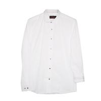 Рубашка (6-14)-д/р,крапинка,синяя и красная отстрочка внутри воротника и манжета,  на кнопках белый 1 1109-1
