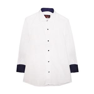 Рубашка (6-14)-д/р, на синих  кнопках, в мелкую крапинку, нарядная белый 1 1110-1