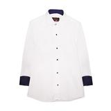 Рубашка (15-18)-д/р, на синих  кнопках, в мелкую крапинку, нарядная белый 1 1110-1
