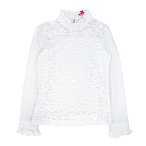 Школьная форма Блузка (11-21) - д/р с рюшами, гипюровая, воротник стойка с рюшами белый хлопок 781888