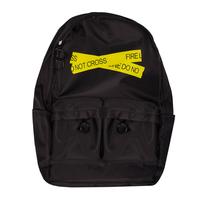 Рюкзак (большой)-с принтом оградительной ленты, передние карманы на молнии черный с желтым F001