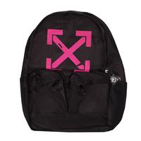 Рюкзак (большой)-со стрелками, застежка на молнии сверху, два передних кармана черный с розовым F001
