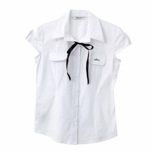 Школьная форма Блузка (9-20)-к/р с отворотом,2 кармашка , с синей ленточкой белый хлопок 11637