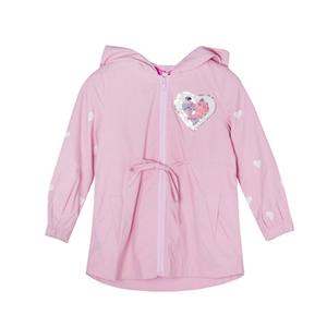 Плащ (3-11)-с капюшёном,рукава сердечки, сердечко из паеток, на спинке апликация розовый 1 782932