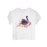 Футболка (98-130)-Лебедь в цветах,рукав крылышко-сетка молочный 683058