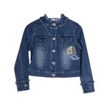 Куртка джинсовая (98-130) с апликацией из паеток русалка, ворот стойка синий 181481