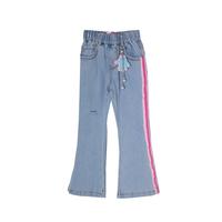 Джинсы (3-11)-клёш, на резинке, с розовым лампасом с одной стороны, брелок-перчатка голубой 1 783459