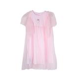 Платье (98-130)- рукав крылышко из сетки, завышенная талия из сетки розовый хлопок 181570