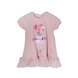 Платье (98-130)- трапеция, снизу рюша из сетки,Девочка с шариками сухая роза хлопок 683034