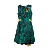 Платье (122-152)-Тропики, с жёлтым поясом зелёный 319197-I