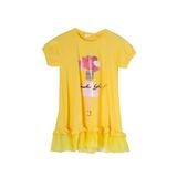 Платье (98-130)- трапеция, снизу рюша из сетки,Девочка с шариками жёлтый хлопок 683034