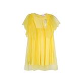 Платье (98-130)- рукав крылышко из сетки, завышенная талия из сетки жёлтый хлопок 181570