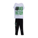 Костюм спортивный (8-15)-белая футболка с надписью+брюки с клапаном кармана и прорезиненой вставкой, снизу молнии зеленый/черный 20015
