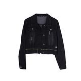 Джинсовая куртка (134-170)-с серебристыми клепками и молнией вдоль пояса, царапки чёрный 319056-С