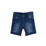 Шорты джинсовые (8-15)-с отворотами, царапки синий хлопок 19083