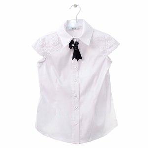 Школьная форма Блузка (5-20)-к/р,плечо и кокетка из кружева, маленькое крылышко,синий бантик белый сатен 11664
