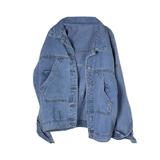 Куртка джинсовая (оверсайз)-вываренная,с большими скошенными карманами, с серебристой вышивкой на спине голубой хлопок 18401
