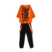 Костюм (8-15)-2-ка, футболка укороченная с надписью, брюки на яркой резинке, сбоку карман на кнопке оранжевый/черный 20050