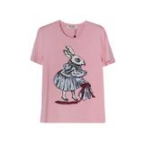 Футболка (S-M-L)-вышитая зайчиха со шляпой розовый хлопок 69410