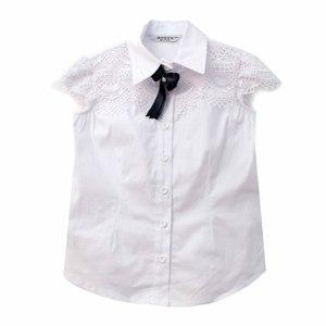 Школьная форма Блузка (5-20)-к/р,крылышко и кокетка из гипюра, синий бантик белый сатен 11663