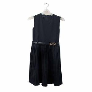 Школьная форма Сарафан (5-16)-юбка гафре, ремешок золотой бантик синий габардин 70681