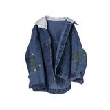 Куртка джинсовая (оверсайз)-вываренная с белым трикотажным капюшёном, на рукавах вышивка синий хлопок 9912