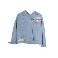Куртка джинсовая (15-23)-оверсайз, с потертостями и пуговицам сзади, с разноцветной надписью голубой 1 783647-1
